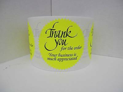 250 Thank you for the order Your business is much appreciated Label neon yellow