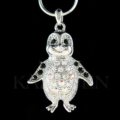~Black Emperor Penguin~ made with Swarovski Crystal Antarctica Jewelry Necklace