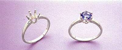 4 5 or 6.5mm Round 6-Prong Deep Vee Sterling Pre-Notched Ring Setting Sz 5-8
