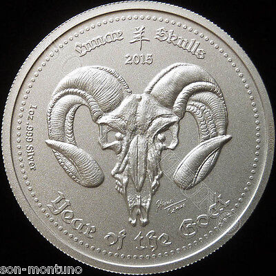 "2015 GHANA ""Lunar Skulls"" YEAR OF THE GOAT 1oz .999 Silver BU Coin"