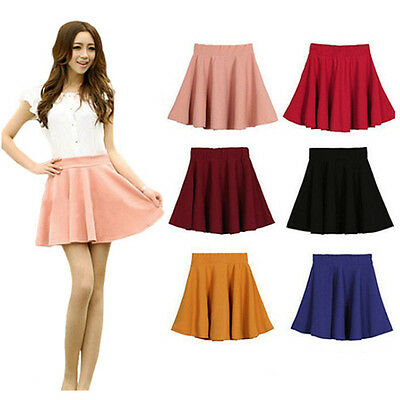 Fashion Women Ladies Pleated Flared Mini Skirt Short High Waist Candy Color
