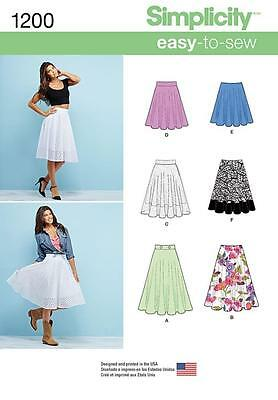 Simplicity Sewing Pattern Misses' 3/4 Circle Skirt Length Variations 6 - 22 1200