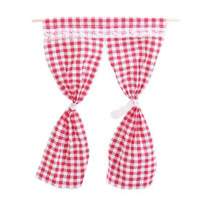 1:12 Miniature Dolls House Furniture Accessory Curtains Drapes Red Gingham