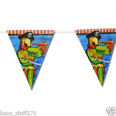 Pirate Party Decor, 12' Flag Banner, Pennant, Parrot Room Decor, Restaurant Bar