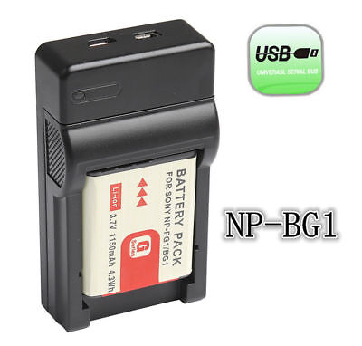 New Battery + USB Charger For Sony Cyber-shot DSC-T100 T20 T25 W100 W110 NP-BG1