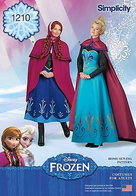 Simplicity Sewing Pattern Disney Frozen Costumes For Misses Sizes 6 - 22 1210