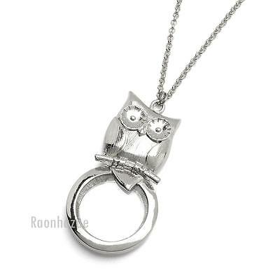 """Silver 5X Magnifying Glass Baby Owl Pendant 31"""" Chain Necklace SJ026S"""