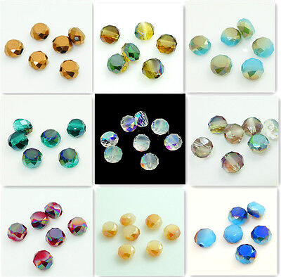 New 100pcs Faceted Rondelle crystal glass Jade Loose Bread beads 6mm Multi-color
