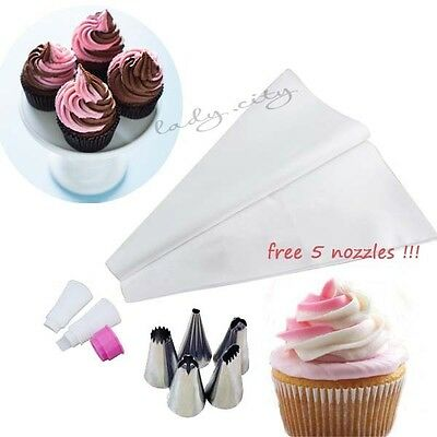 Double Color Icing Bag&Stainless Steel Nozzle For Cake&Cupcake Top Decorating #Y