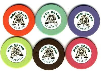 6 MGM GRAND HOTEL Casino ROULETTE CHIPS LAS VEGAS, NV Set of  6 Free Shipping *