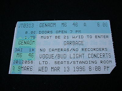 Garbage Concert Ticket Stub March 13 1996 Indianapolis Vogue Theater
