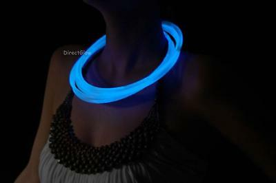 "50 22"" Premium Jumbo White (Tinted Blue) Glow Stick Necklaces- Ships from USA!"