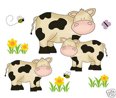 Cow Decals Wall Art Farm Animals Baby Nursery Kids Barnyard Room Stickers Decor