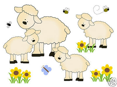 Sheep Lamb Mural Wall Decal Barnyard Farm Animals Baby Girl Art Stickers Decor