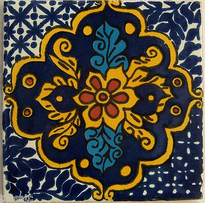 """C275-9 Decorated Mexican Talavera Clay 4/"""" x 4/"""" Tiles"""