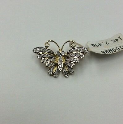 ***14K REAL SOLID GOLD*** Gold BUTTERFLY BROOCH Pin w/ REAL DIAMONDS 2.5g