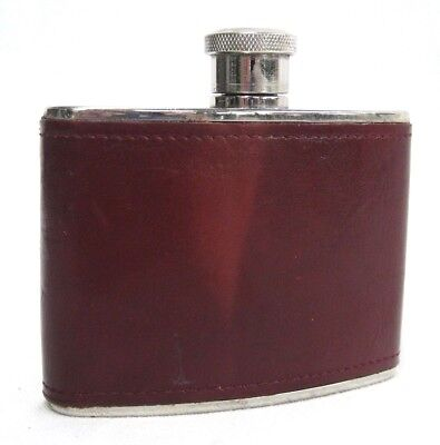 Hoffritz Whiskey Flask Germany Stainless Steel Brown Leather 4 oz