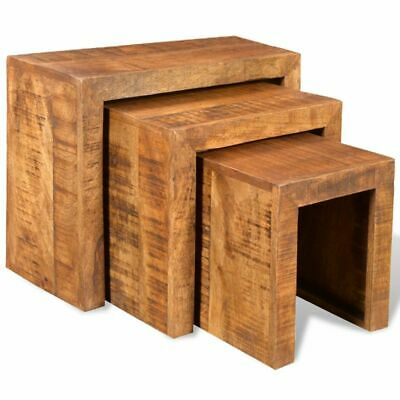 B#Solid Antique-style Mango Wood Set of 3 Nesting Tables Durable Table Set