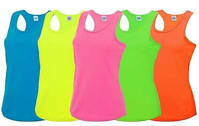 Ladies Cool Sports Vest 8-16 Workout Gym Dance Racer Back Neon Fluorescent Top