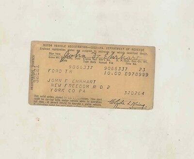 1924 Ford Model T ORIGINAL Pennsylvania Registration Certificate us0968