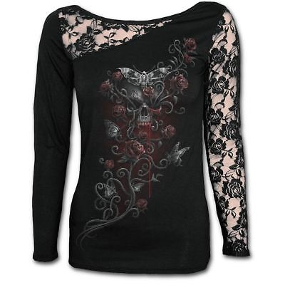 Spiral Direct Deaths Head Gothic Moth Skulls & Roses Lace Black Long Sleeved Top