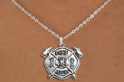 Firefighter Fire Rescue Maltese Cross with Axes Charm Necklace