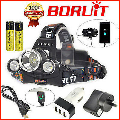 2017 BORUiT Upgraded 13000lm USB Headlamp 3xXM-T6 LED Headlight Head Torch 18650