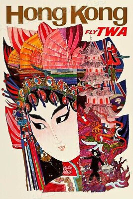 """24x36 1960s """"New York City"""" Vintage Style Air Travel Poster"""