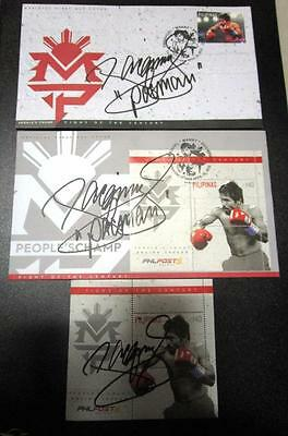 complete set MANNY PACMAN PACQUIAO PEOPLE'S CHAMP 2  FDC +SS ORIGINAL SIGNED
