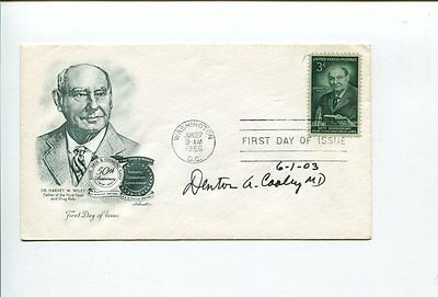 Dr Denton Cooley Heart Surgeon Inventor Signed Autograph FDC
