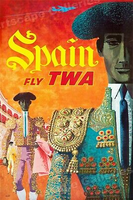 24x36 Beauty and Harmony in Spain TWA 1960s Vintage Style Travel Poster