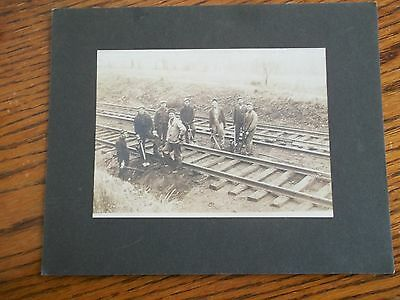 """ANTIQUE PHOTO MEN WORKING ON THE RAILROAD 5 X 7"""""""
