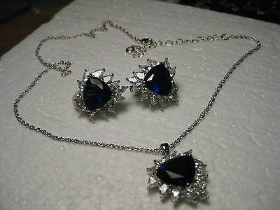 1990's Glamorous Deep Blue Cut Stones with Clear Cz,  Necklace/Clip Earring Set