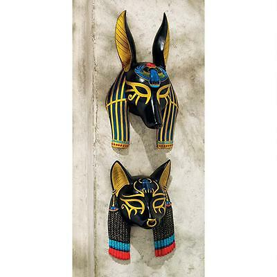 Ancient Egyptian Gods Bastet & Anubis Wall Mask Sculpture