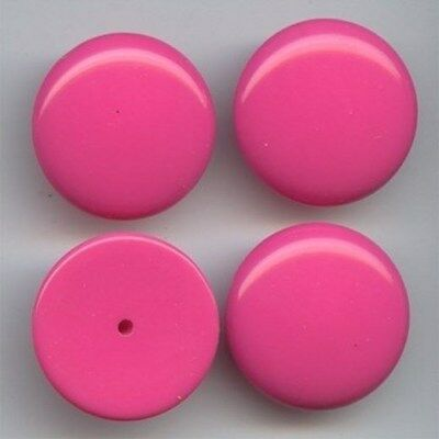 12 VINTAGE HOT PINK ACRYLIC 26mm. ROUND SMOOTH DOME CABOCHONS  5222