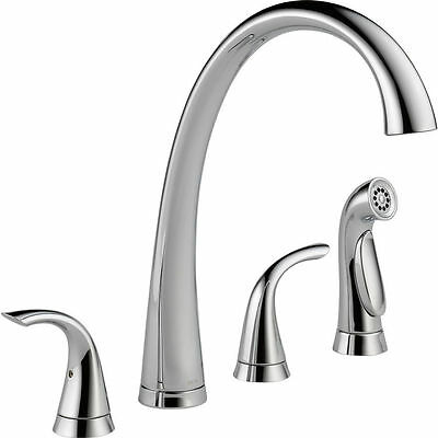 Delta Commercial 2480-DST Two Handle Widespread Kitchen Faucet With Spray