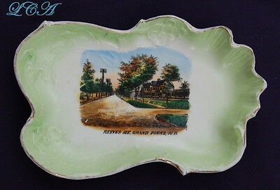 Rare GRAND FORKS NORTH DAKOTA antique dish w/ REEVES AVE street scene !