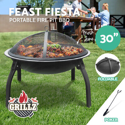 "Grillz 32"" Portable Outdoor Fire Pit BBQ Grill Patio Heater Garden Fireplace"