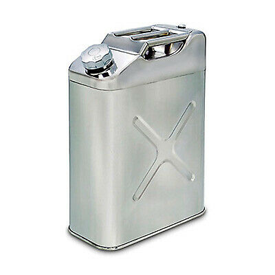 JJC Screw Cap Stainless Steel Fuel/Petrol/Diesel Jerry Can -Racing/Rally- 20 Ltr