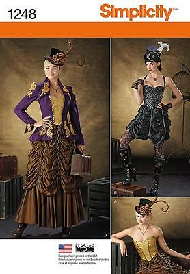 SIMPLICITY SEWING PATTERN Misses' VICTORIAN Steampunk Costumes SIZE 6 - 22 1248