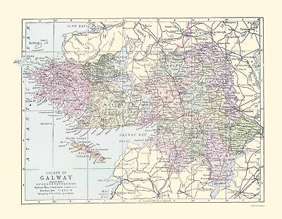 Old Ireland Map - Galway County - Philip 1882 - 23 x 29.66
