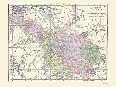 Old Ireland Map - Cavan County - Philip 1882 - 23 x 30.78