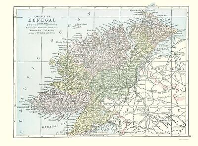 Old Ireland Map - Donegal County - Philip 1882 - 23 x 31.10