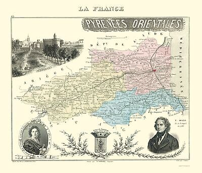 Pyrenees Orientales Department France - Migeon 1869 - 23 x 26.78
