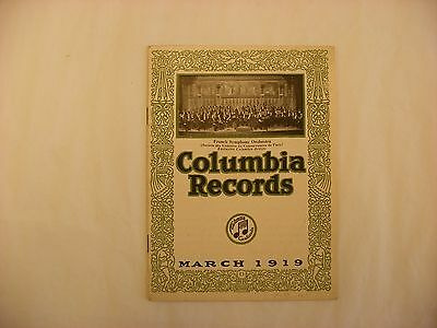 Original Columbia Graphophone Phonograph Record Catalog - March, 1919