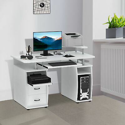 Computer Desk Pc Table Workstation Monitor Printer Shelf