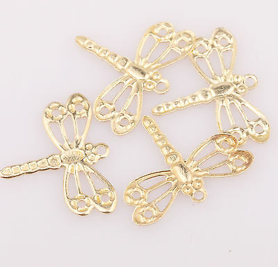 100pcs Gold Plated Dragonfly Charms Pendants Findings 15mm