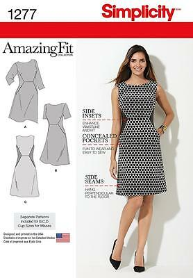 SIMPLICITY SEWING PATTERN Miss and Plus Amazing Fit Dress SIZE 10 - 28W 1277