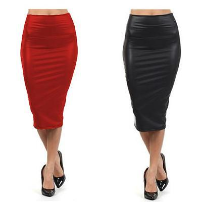 Women Lady Pencil Wiggle Bodycon Wet Look Faux Leather Casual Club Skirt Dress B