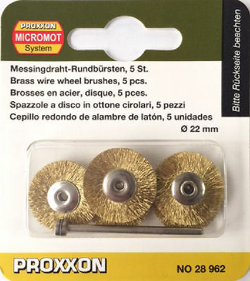 Proxxon 5pc micromot brass wire wheel brushes 28962 202356  Direct from RDGTools
